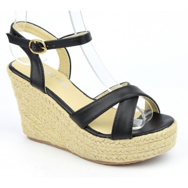 Sandales compensées, aspect cuir mat, noires, Lodeline
