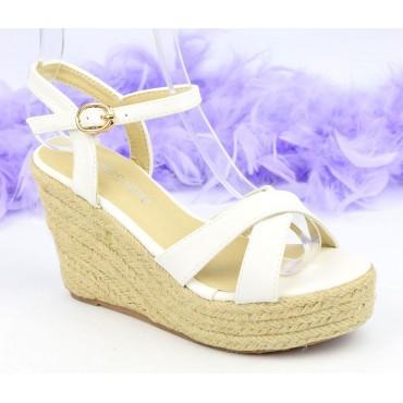 Sandales compensées, aspect cuir mat, blanches, Lodeline