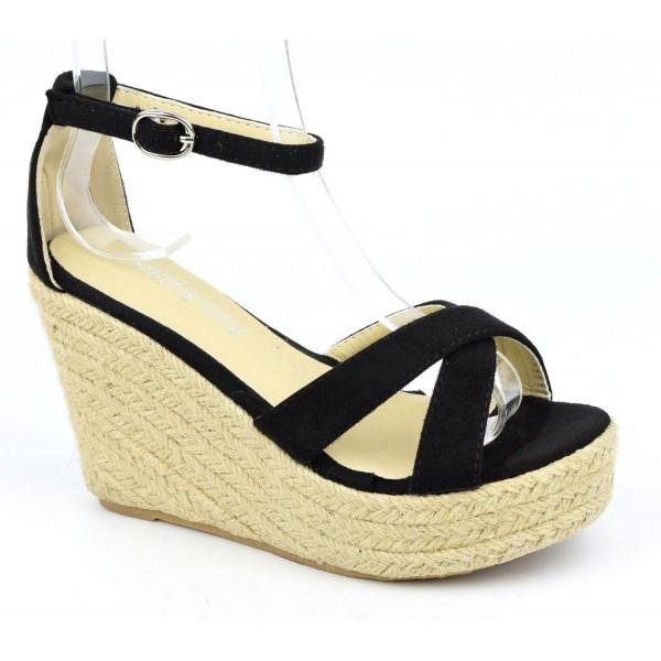 Sandales compensées, aspect daim, noires, Maisila , femme petites pointures