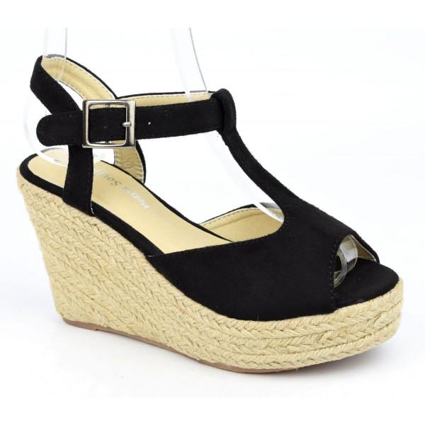 Sandales compensées, aspect daim, noires, Pakita , femme petites pointures