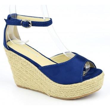 Sandales compensées, aspect daim, bleu marine, Delphinette