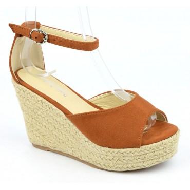 Sandales compensées, aspect daim, marrons, Delphinette