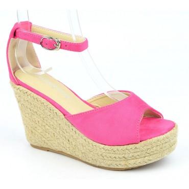 Sandales compensées, aspect daim, rose bonbon, Delphinette
