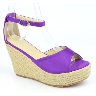 Sandales compensées, aspect daim, violettes, Delphinette