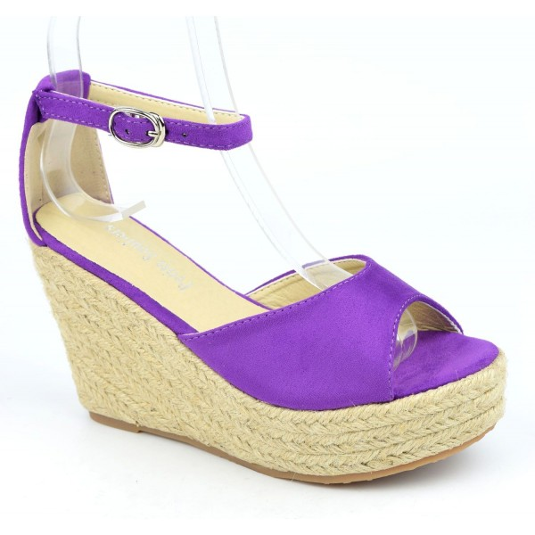 Sandales compensées, aspect daim, violettes, Delphinette , femme petites pointures