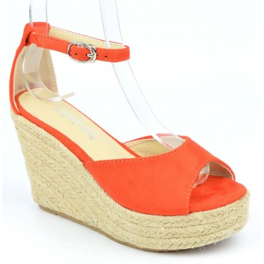 Sandales compensées, aspect daim, oranges, Delphinette