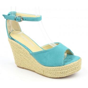 Sandales compensées, aspect daim, bleu turquoise, Delphinette