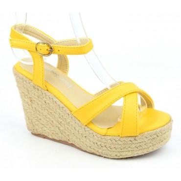 Sandales compensées, aspect cuir mat, jaunes, Lodeline