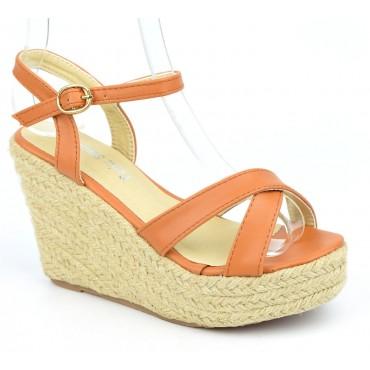 Sandales compensées, aspect cuir mat, marrons, Lodeline