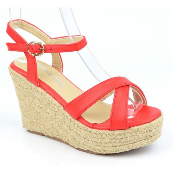 Sandales compensées, aspect cuir mat, rouge corail, Lodeline , femme petites pointures