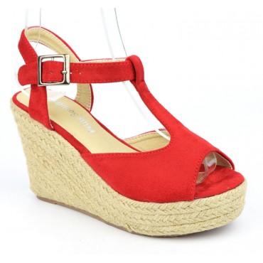 Sandales compensées, aspect daim, rouges, Pakita