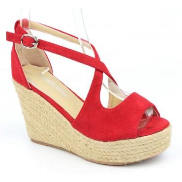 Sandales compensées, aspect daim, rouges, Bellanie , femme petite pointure