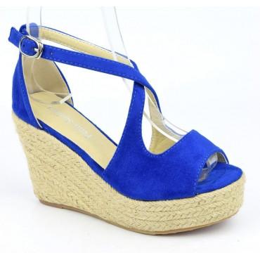 Sandales compensées, aspect daim, bleu royal, Bellanie , femme petite pointure