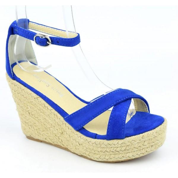 Sandales compensées, aspect daim, bleu royal, Maisila , femme petites pointures