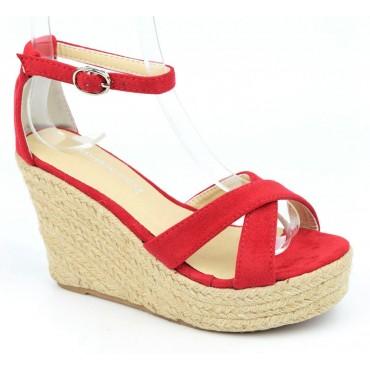 Sandales compensées, aspect daim, rouges, Maisila