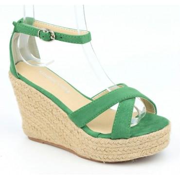 Sandales compensées, aspect daim, vertes, Maisila , femme petites pointures