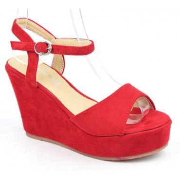 Sandales compensées, aspect daim, rouges, Noram , femme petite pointure