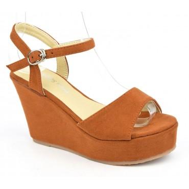 Sandales compensées, aspect daim, marrons, Noram , femme petite pointure