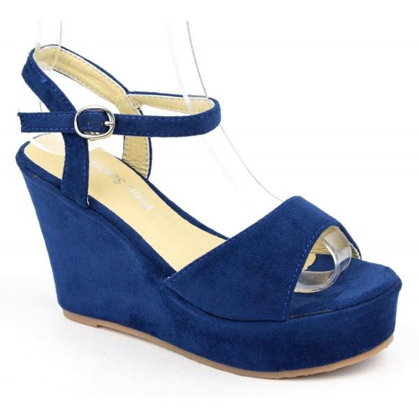 Sandales compensées, aspect daim, bleu marine, Noram , femme petite pointure