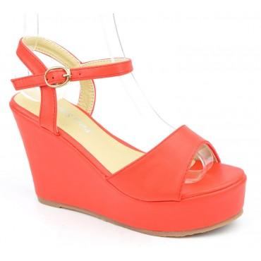 Sandales compensées, aspect cuir mat, rouge corail, Noram , femme petite pointure