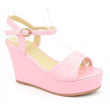 Sandales compensées, aspect cuir mat, rose nacré, Noram , femme petite pointure