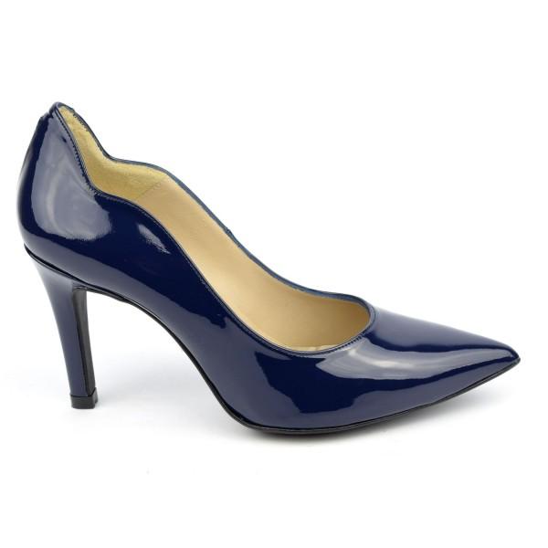 Escarpins cuir, verni bleu marine, Brenda Zaro, F1059A, téva