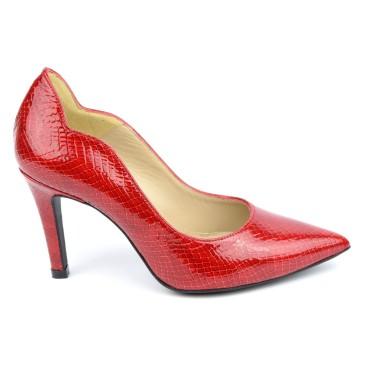 Escarpins cuir, croco verni rouge, Brenda Zaro, F1059A, téva