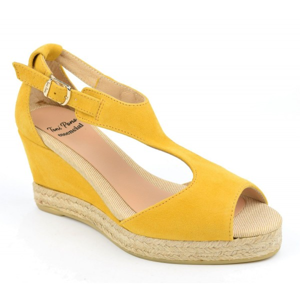 Espadrilles, sandales compensées, cuir daim, jaunes, Anna-GA, Toni Pons