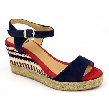 Espadrilles, sandales compensées, cuir daim, bleu marine, Alexia, Toni Pons