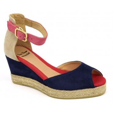 Espadrilles, sandales compensées, cuir daim, bleu marine, Alison-G, Toni Pons