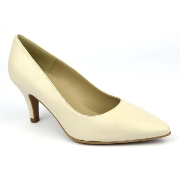 Escarpins cuir, mat, beiges, Brenda Zaro, bouts pointus, petits talons 6.5 cm, Lise, F97803D