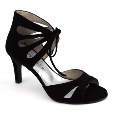 Sandales lacets cuir daim, noires, F2042, Belgrano, Brenda Zaro