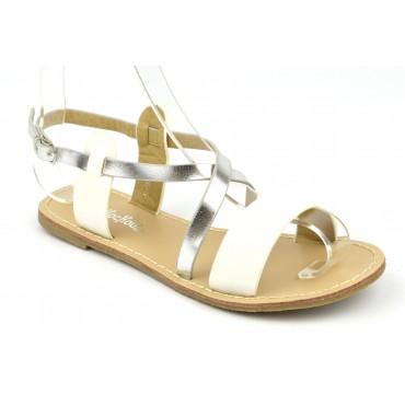 Sandales nu-pieds, aspect cuir mat blanc, petites pointures. 3746