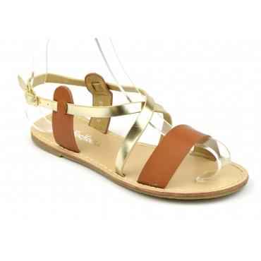 Sandales nu-pieds, aspect cuir mat marron, petites pointures. 3746