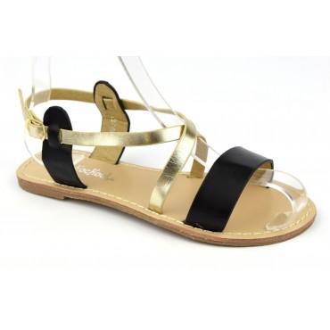 Sandales nu-pieds, aspect cuir mat noir, petites pointures. 3746
