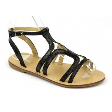 Sandales spartiales aspect croco verni noir, petites pointures