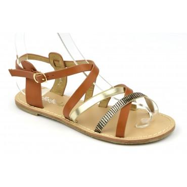 """Sandales style """"tropéziennes"""", aspect cuir mat marron, petites pointures"""