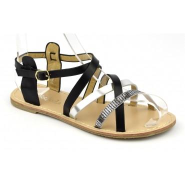 """Sandales style """"tropéziennes"""", aspect cuir mat noire, petites pointures"""
