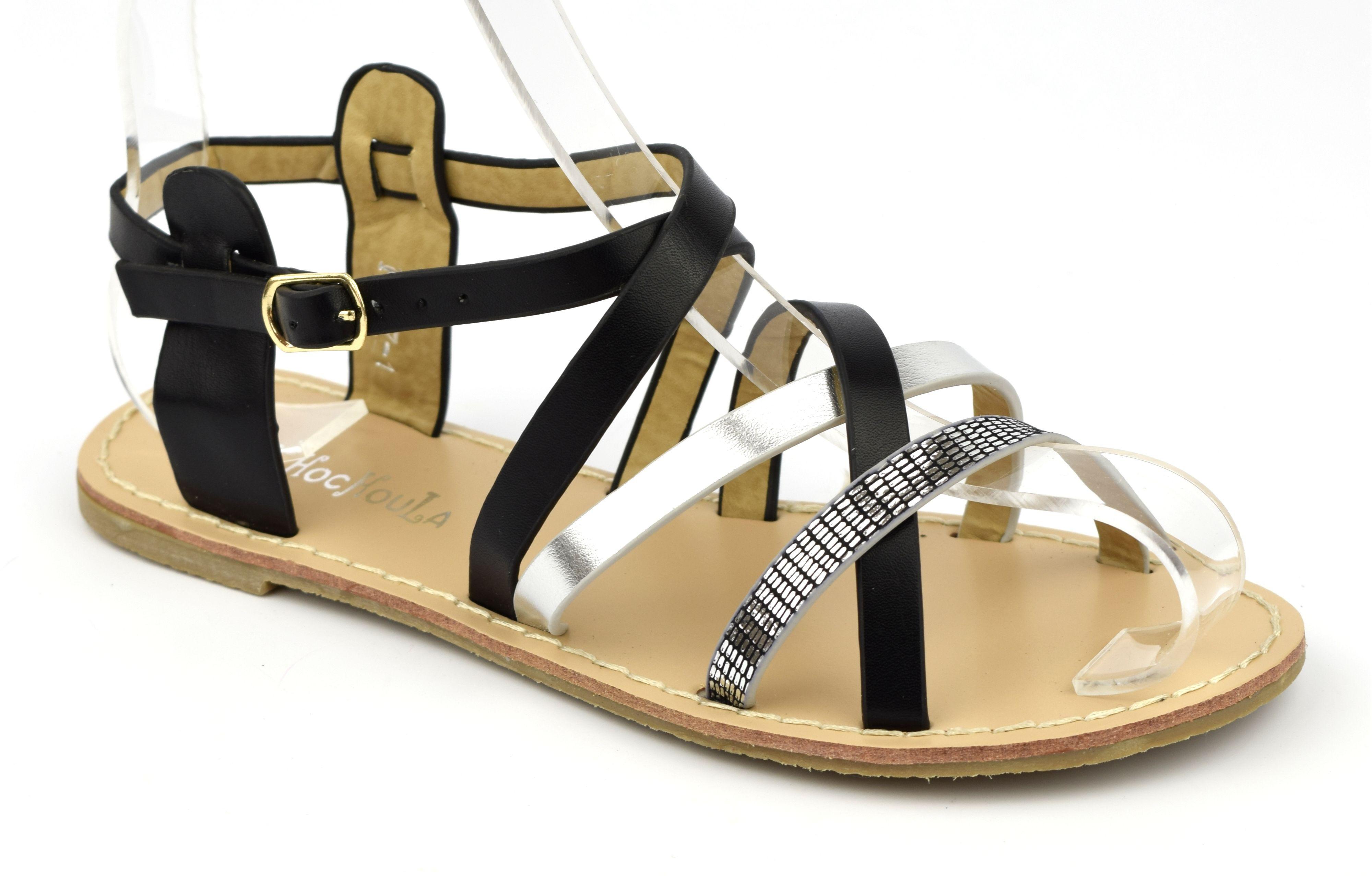 Sandales style tropéziennes, aspect cuir mat marron