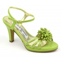 Sandales cuir mat vert pistache et or, Flora, Yves de Beaumond