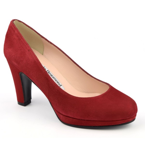 Escarpins cuir daim rouge, Yves de Beaumond, 4079