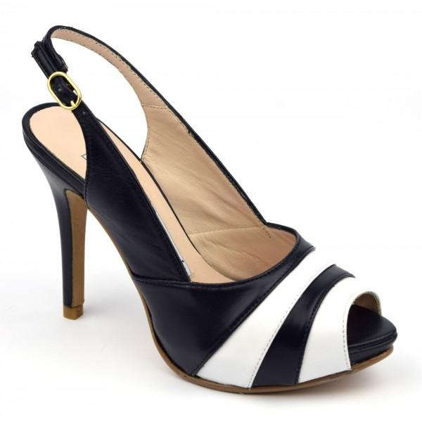 Sandales, cuir mat bicolores, blanc et bleu marine, MI-550 , Yves de Beaumond