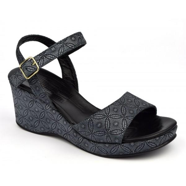 Sandales cuir enrobées tissu imprimé fleuri noir, Yves de Beaumond, 7207