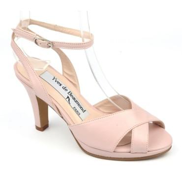 Sandales plateforme à bride, cuir mat rose poudré, 7810 , Yves de Beaumond
