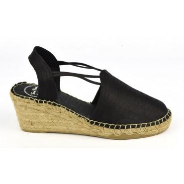 Espadrilles, sandales compensées, soie sauvage, satinées noires, Turia , Toni Pons