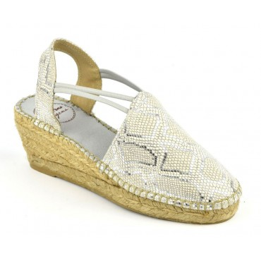 Espadrilles sandales compensées, cuir motif reptile argent, Torino-LY , Toni Pons
