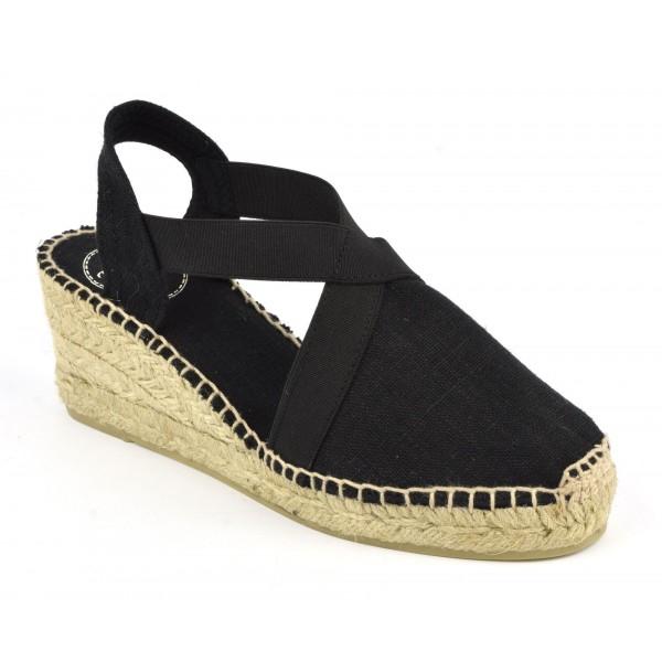Espadrilles, sandales compensées, toile, noire , Toni Pons, Ter