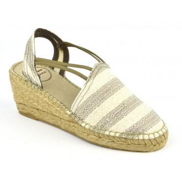 Espadrilles, sandales compensées, tissu, rayures écru et taupe, Tania-CH , Toni Pons