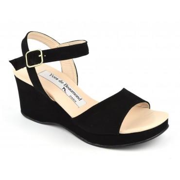 Sandales cuir daim noir, talons compensés, 7207, Yves de beaumond