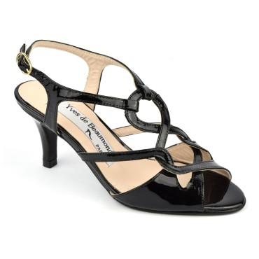 Sandales, cuir verni noir, MI-502, Yves de Beaumond